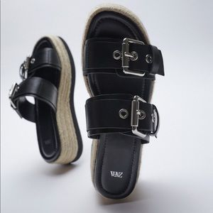 Zara Leather Wedge with Buckle